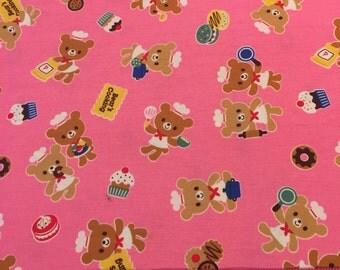 Kawaii Japanese Cooking Bears Fabric Fat Quarter Pink Rare Kona Bay Cotton