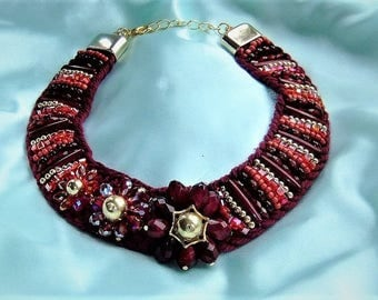 Statement necklace red braided Necklace dark red gold embroidered necklace