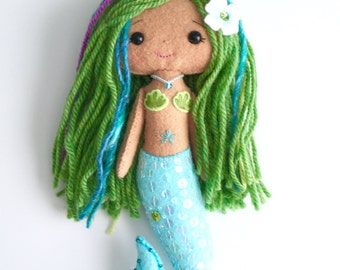 Mermaid Girl, felt,wool,gingermelon,finished doll