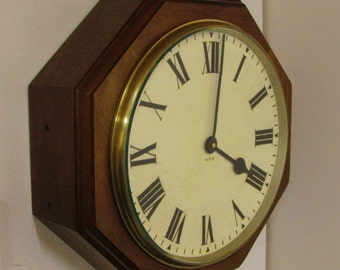 Large  Octagonal Wooden Post Office Clock