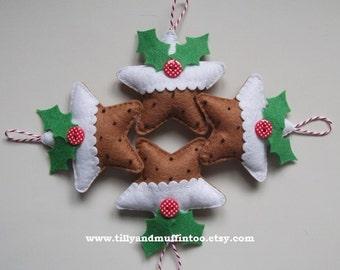 Felt Star Pudding Christmas Decoration/Ornament.Christmas Pudding Ornament/Decoration. Felt Christmas Pudding.Kawaii Christmas Pudding.