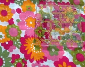 "Bright pink,orange green poly cotton floral fabric, approx 36"" x 147"""