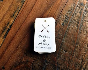 Favor tags, bridal shower favor tag, thank you hang tag, arrow favor tag