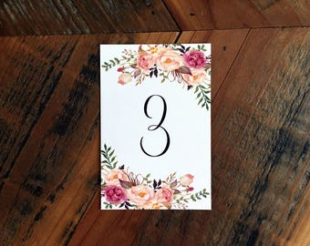 Rustic Table Numbers, Floral Table Numbers, Wedding Table Numbers,