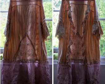 Handmade Vintage Upcycling Shabby chic/Edwardian/ Lagen look/Hippie/Boho/Gypsy/20s Flapper inspired romantic lace patch work duster/Kimono