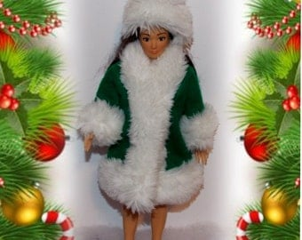 Handmade Lammily Green Christmas Coat.  Handmade Lammily Doll Clothes, does not fit Barbie or Integrity Toys Dolls.