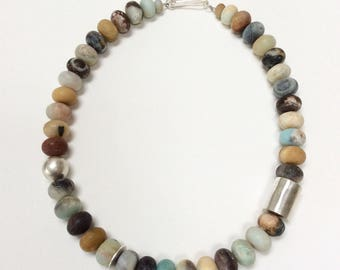 Chunky Black Amazonite and Silver Necklace