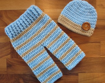 Crocheted Baby Boy Pants and Hat with Wooden Button Set ~ Baby Blue & Tan ~ Gift or Photo Prop ~ Newborn (0-2 Month) - MADE TO ORDER