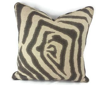 Taupe and Tan Ikat Zebra with Self-Welt Pillow Cover