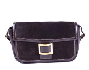 Vintage Hermes Brown Suede and Gold Shoulder Bag