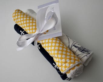Sailboats, Polka Dots and Anchors - Burp Pads - Burp Cloths - Cotton and Chenille - Baby Shower, Nautical, Navy, White, Baby Blue, Yellow