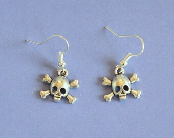 Silver Skull and Crossbones Dangly Earrings,Skull Earrings,Silver Skull,Tibetan Silver,Tibetan Charm,Silver Earrings,Silver Jewellery,Skull