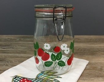 ON SALE Vintage Strawberry Canning Jar, 1L Carlton Glass Hinged Lid, Retro Kitchen Decor Storage Container
