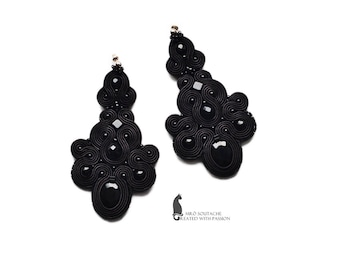 Black Lady- soutache earrings, orecchini soutache, boucles d'oreilles soutache, elegant earrings