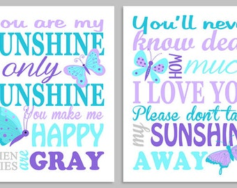 You Are My Sunshine Nursery Art, Sunshine Wall Art, Nursery Decor, Baby Girl Decor, Butterfly Nursery, Aqua Purple Turquoise, Butterfly Art
