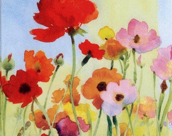 4 Decoupage Napkins | Wild Poppies in Watercolor| Poppy Napkins|Wildflower Napkins|Floral Napkins|Paper Napkins for Decoupage