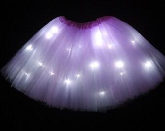 Child Lavender LED Light up Tutu Skirt Toddler 2 to Girls 8