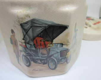 Sanderland Ware Pottery Classic Cars Transportation  Frank Cooper Oxford Marmalade Jar Pot  Collectible