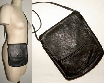 "Vintage Libaire Small Leather Cross Body Bag / BLACK Pebbled Leather Pouch / Purse / Handbag / made USA / 7"" x 8"" x 2.25"""