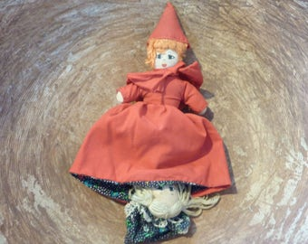 Vintage Little Red Riding Hood Double Doll Topsy-Turvy Fairy Tale Trio Grandma Grandmother Big Bad Wolf (#451)