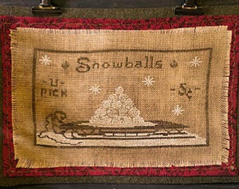"""Pattern: """"Snowballs - 5 cents"""" Cross Stitch Pattern by Kanikis Prims and Whims"""