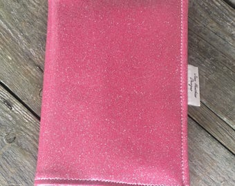 A5 diary cover,book cover,journal cover,oilcloth diary cover,nurses journal cover,Pink glitter oilcloth