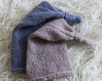 READY TO SHIP Newborn Top Knot Stocking Hat - Newborn Alpaca Knit Stocking - Newborn Photography Prop