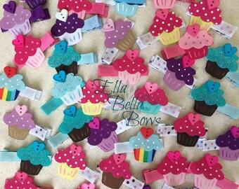 Mini Cupcake Ribbon Sculpture Hair Clip, Party Favor, Celebrate