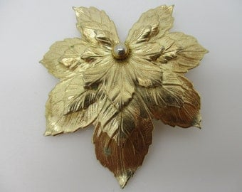 Gold Tone Stacked Maple Leaf Brooch