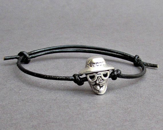 Smoking Skull, Men's Bracelet, Silver Skull Charm, Leather Bracelet For Men, Gift for him, Bestfriend Bracelet, mens jewelry, Adjustable