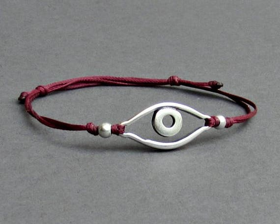 Silver Evil Eye, Men's Bracelet, Silver Evil Eye Charm, Cord Bracelet For Men, Gift for him, Bestfriend Bracelet, mens jewelry, Adjustable