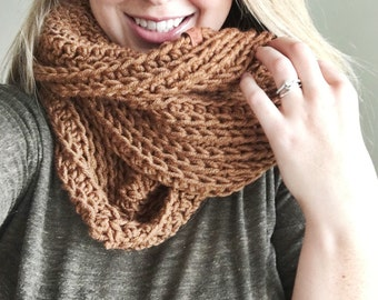 Ready to ship // Extra large brown infinity scarf, large scarf, big scarf, textured scarf, knitted scarf, double loop infinity scarf