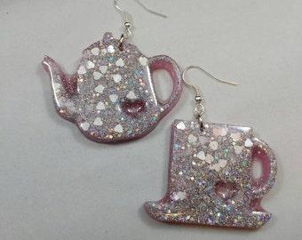 Tea Set Earrings, Tea Cup, Tea Pot, Earring Mis-Matched Set, Pink Glitter, Hearts, Resin Earrings