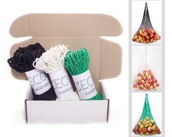 String bag Pack of 3 Cotton Net Shopping Tote Ecology Market String Bag Organizer
