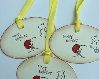 Winnie the Pooh and Piglet too ! Birthday gift tags set of x 3