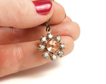 Peach Crystal Daisy Pendant Necklace, One of a Kind Handmade Vintage Style Jewellery