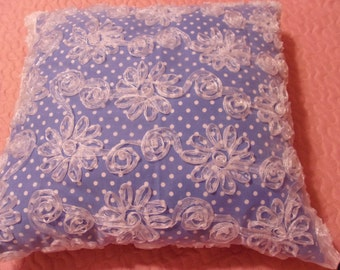 Pretty Princess Pillow in Blue and White Polka Dot and Floral Embellishments Overlay