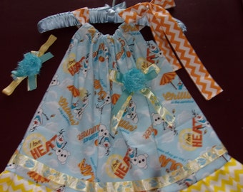 Girl's Pillowcase Style Dress Size 3T / 4T Frozen's Olaf & Chevron Stripes with Matching Headband
