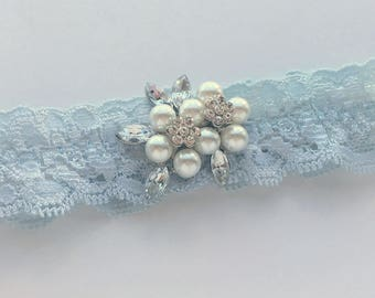 "Blue Lace Wedding Garter, Something Blue Bridal Garter, Blue Wedding Garter, Simple Blue Garter with Pearls & Crystals, ""Paige"" Garter"