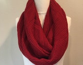 Red Diamond Sweater Knit Infinity Scarf