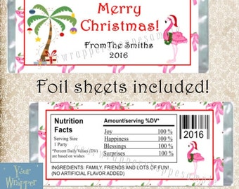 TROPICAL CHRISTMAS Party Candy Bar Wrappers with Foil Sheets Favors Custom Personalized