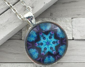 Blue and Purple pendant necklace, kaleidoscope, abstract long pendant necklace
