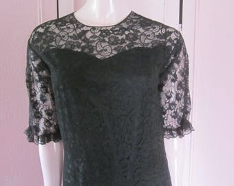 1960s Black Lace Mid-Length Dress, Sizes 4 - 6