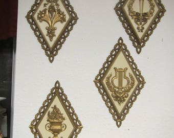 Set of four 1971 Homco Decorative Wall Hangings, Diamond shaped Wall Decor,