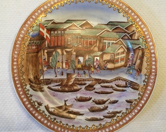 Gorgeous vintage Chinese fishing village plate with junks, fishermen, and geishas