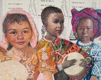 Vintage UNICEF Paper Dolls, Children From Around the World, Cardboard Festival Figures, 1971