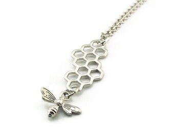 Honeycomb Necklace, Honeycomb with Bee Necklace, Silvertone Necklace