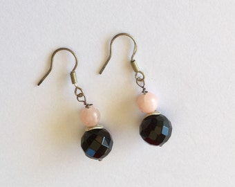 Pink opal and onyx dangle earrings sterling silver