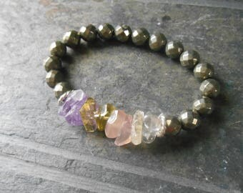Pastel quartz and pyrite stretch bracelet, gemstone stacking bracelet, beaded bracelet