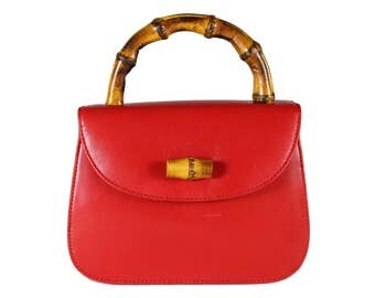 Vintage Carmine-Red Leather Bag With Bamboo Handle